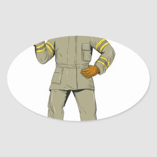 Pegatina Ovalada Dibujo americano del hacha del fuego del bombero