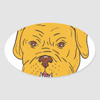 Pegatina Ovalada Dibujo animado de la cabeza de perro de Burdeos