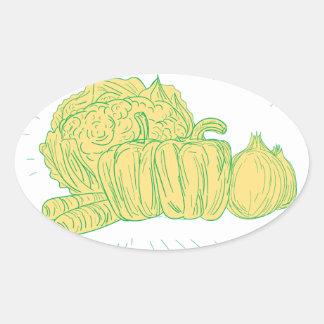 Pegatina Ovalada Dibujo de la cebolla del pimiento de Brocolli
