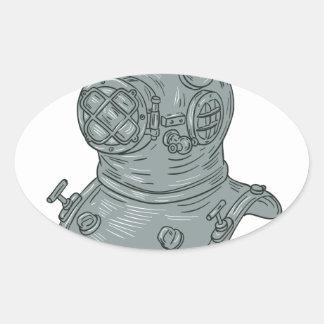 Pegatina Ovalada Dibujo del casco del salto de la escuela vieja
