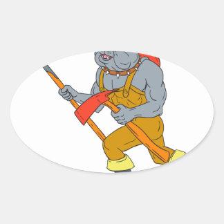 Pegatina Ovalada Dibujo del hacha del fuego de Pike poste del
