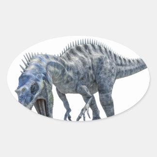 Pegatina Ovalada Dinosaurio de Suchomimus que come un tiburón