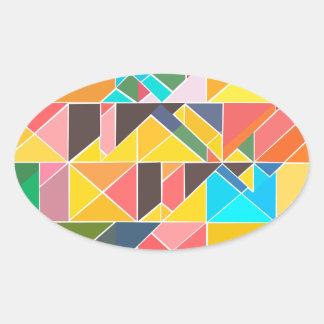 Pegatina Ovalada Diseño abstracto triangular