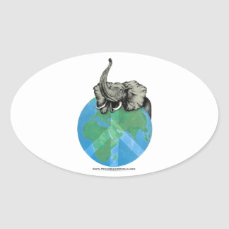 Pegatina Ovalada Diseño de la paz del elefante africano