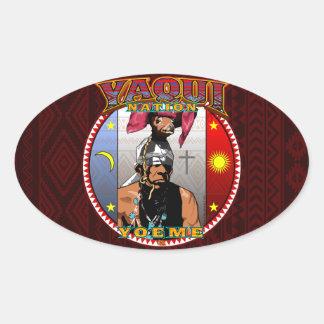 Pegatina Ovalada Diseño del bailarín de los ciervos de Yaqui Yoeme