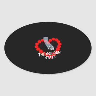 Pegatina Ovalada Diseño del corazón de la vela para el estado de