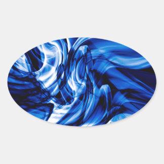 Pegatina Ovalada Diseño reciclado del arte del humo