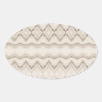 Pegatina Ovalada Diseño tribal del modelo de zigzag de la pluma