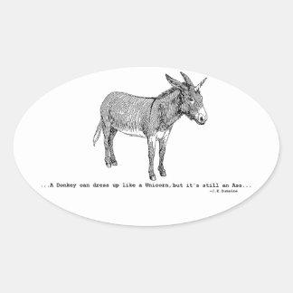 Pegatina Ovalada DIY DonkeyUnicorn ver2