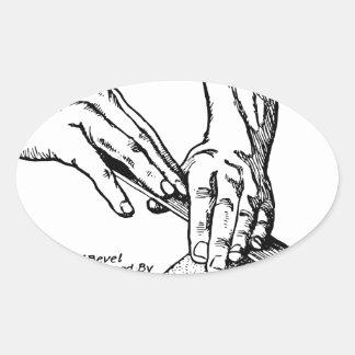 Pegatina Ovalada Ejemplo que amola del hierro