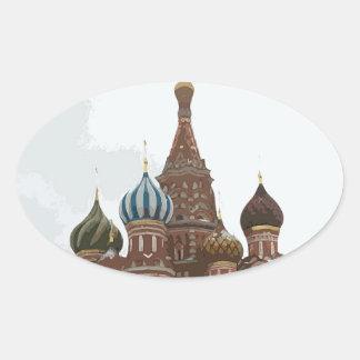 Pegatina Ovalada El cathedral_russo de la albahaca del santo
