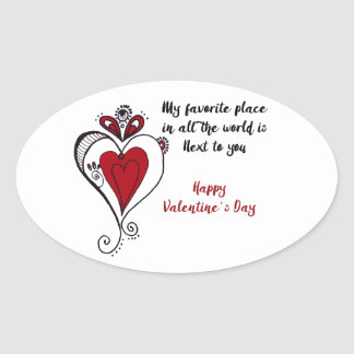 Pegatina Ovalada El día de San Valentín feliz