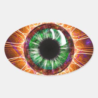 Pegatina Ovalada El otro de Tesla arte del fractal del ojo