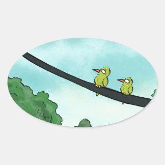 Pegatina Ovalada El pájaro cortó el cable