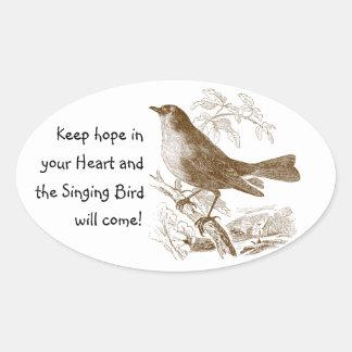 Pegatina Ovalada El pájaro del vintage mantiene esperanza sus
