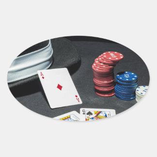 Pegatina Ovalada El póker carda el gorra del gángster