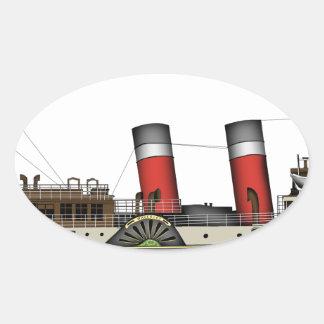Pegatina Ovalada El vapor de paleta Waverley de Tony Fernandes