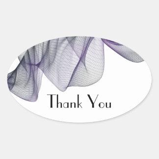 Pegatina Ovalada El velo negro y púrpura del gótico le agradece los