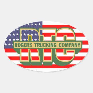 Pegatina Ovalada Empresa de transportes americana de Rogers del