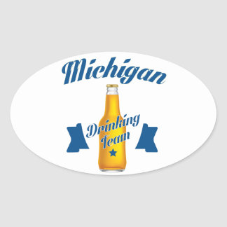 Pegatina Ovalada Equipo de consumición de Michigan