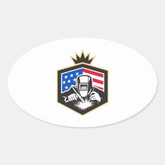 Pegatina Ovalada Escudo de la bandera de los E.E.U.U. de la