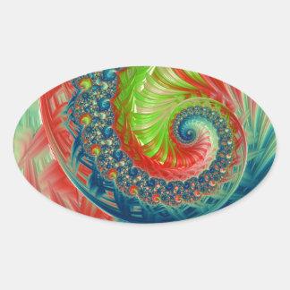 Pegatina Ovalada Espiral brillante