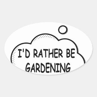 Pegatina Ovalada Estaría cultivando un huerto bastante