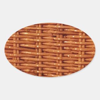 Pegatina Ovalada Estilo rural de mimbre rústico de la cesta de la