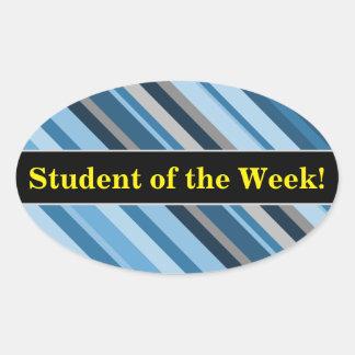 """Pegatina Ovalada """"Estudiante de la semana!"""" + Rayas azules y grises"""