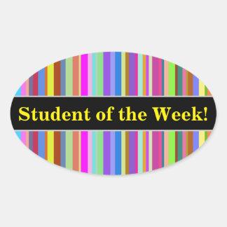 "Pegatina Ovalada ""Estudiante de la semana!"" + Rayas de diversos"