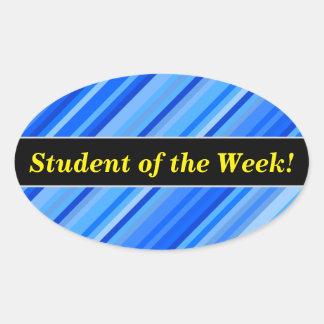 """Pegatina Ovalada """"Estudiante de la semana!"""" + Rayas del modelo azul"""