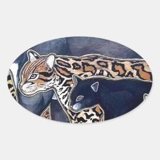 Pegatina Ovalada Felinos de Costa Rica - Big cats