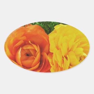 Pegatina Ovalada Flor doble del problema