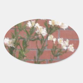 Pegatina Ovalada Flores en ladrillo