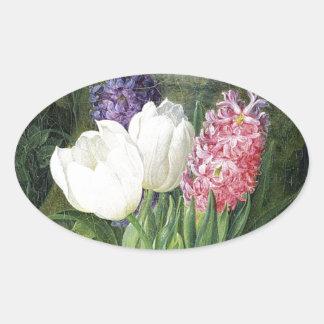 Pegatina Ovalada Flores holandesas viejas de la primavera