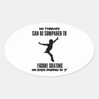 Pegatina Ovalada fresco y tendiendo DISEÑOS del patinaje artístico