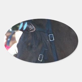 Pegatina Ovalada Gafas que llevan del caballo árabe de Brown oscuro
