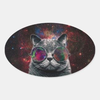 Pegatina Ovalada Gafas que llevan del gato del espacio delante de