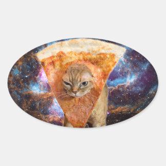 Pegatina Ovalada Gato de la pizza en rebanada de la pizza del