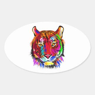 Pegatina Ovalada Gato de muchos colores