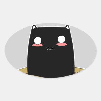 Pegatina Ovalada Gato negro en una caja