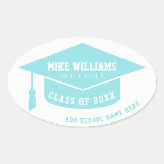 Pegatina Ovalada graduado/graduado/azul claro de la graduación