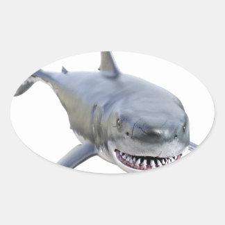 Pegatina Ovalada gran tiburón blanco que nada al frente
