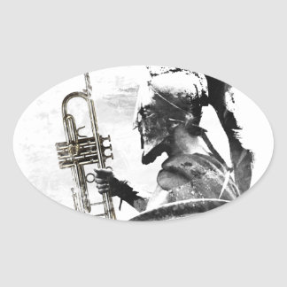 Pegatina Ovalada Guerrero de la trompeta
