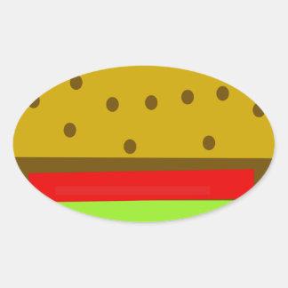Pegatina Ovalada Hamburguesa de los alimentos de preparación rápida