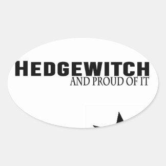 Pegatina Ovalada Hedgewitch y orgulloso de él