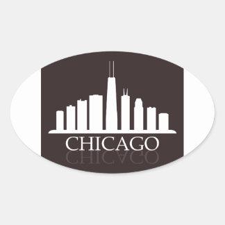 Pegatina Ovalada horizonte de Chicago