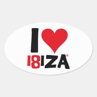 Pegatina Ovalada I love Ibiza 18IZA Edición Especial 2018