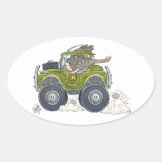 Pegatina Ovalada Ilustracion del dibujo animado de un elefante que
