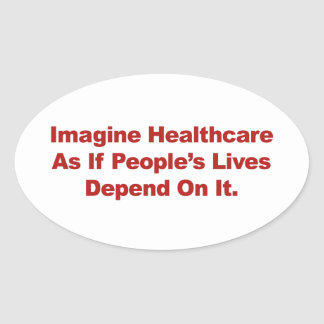 Pegatina Ovalada Imagínese las vidas de la gente de la atención
